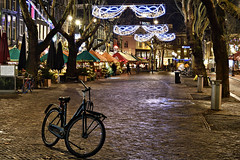 Thorbeckeplein (jan_vrouwe) Tags: bicycle cycling square garbagebin umbrella raincover tree amsterdam thorbeckeplein light festival partylights