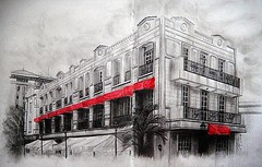 ACROSS FORT SANTIAGO (Sketchbook0918) Tags: intramuros manila architecture building red selectivecoloring selective coloring sketchbook sketch location drawing paper memorable memories isometric vies across fort fortsantiago