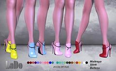 LD Design _ Bonie Heels _ ( 25 Color Hud ) - PROMO (LaDo Design) Tags: secondlife second mesh lado ld bento shoes heels heel maitreya belleza slink accessory color hud texture blogger bloggers sl moda