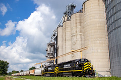 Edon, Ohio (conrail6809) Tags: emd sd45 sd40 sd402 sd40m2 in iner indiana northeastern railroad train trains edon ohio oh grain elevator silo freight railroads railfan railfanning locomotive diesel