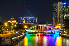 Clarke's Quay (AGUYTAKINGPICTURES) Tags: singapore night singapur clarkes quay marina bay av bridge colorful reflections laser show asia