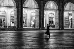 Bologna (marco rubini) Tags: bologna piazza maggiore grande piazzamaggiore piazzagrande notturno luci fantasma vini portico arcade palazzo podestà palazzopodestà bianco nero bw bn