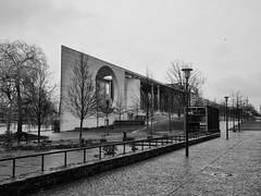 Germany - Berlin - Kanzleramt (st3000) Tags: europe oldeurope germany berlin capital hdk hausderkulturen gm5 lumix 20mm kanzleramt bw blackandwhite tristesse rain outdoor