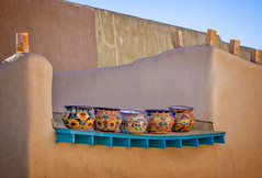 Five pots on the roof (Tiigra) Tags: unitedstatesofamerica us taos 2018 architdetail blue color lantern newmexico object ornament repetition roof town usa art pattern