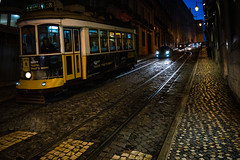 Tram 28, Lisbon, December 21, 2018 (Ulf Bodin) Tags: tram night tram28 lisbon lisboa canonef1635mmf4lisusm light road tramrail outdoor lissabon canoneosr portugal urbanlife pt people
