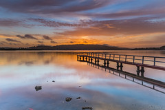 Early Morning Clouds and Reflections on the Bay (Merrillie) Tags: daybreak woywoy landscape nature bay reflections foreshore newsouthwales clouds earlymorning nsw brisbanewater wharf australia cloudy morning coastal water outdoors waterscape sunrise centralcoast sky dawn