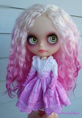 Tori in magical morning light, no filters.  💗💜💖 (Motor City Dolly) Tags: custom ooak blythe doll mohair reroot pink hair motor city dolly sandra coe translucent skin big eyes