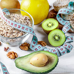 Slimming and health food products on wooden background thumbnail