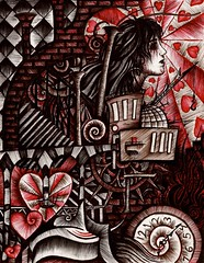 In Loving Memory (Skyler Brown Art) Tags: angst architecture art artwork blackred broken clock creepy dark darkness drawing emotional fear gears goth gothic heart heartbreak industrial ink love nightmare ominous paper pen red sad serious sleep steampunk surreal surrealism time