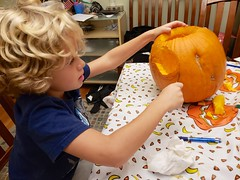 Everett Carving His Pumpkin (Joe Shlabotnik) Tags: justeverett home everett october2018 cameraphone pumpkin galaxys9 2018