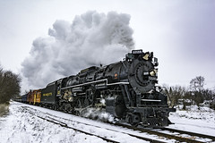 keeping ahead of the North Pole Express ~ Pere Marquette 1225 on its run between Owosso and Ashley (TAC.Photography) Tags: steamrailroadinginstitute steamtrain carlandmichigan northpoleexpress train railway winter snow steam nikon nikoncamera tomclarknet tacphotography 2018yip