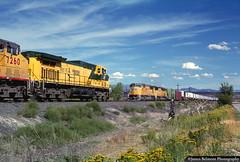 Meet at Wellington-Wash (jamesbelmont) Tags: railroad railway train unionpacific chicagonorthwestern zdvro coal wellington wash utah riogrande meet emd sd70m beer ups