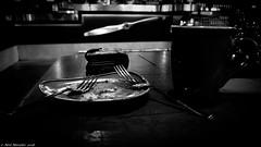 Love on a shoestring. (Neil. Moralee) Tags: neilmoralee plate fork cost cup mug still life black white mono monochrome panasonic lumix lx7 cafe coffee cake love eaten hunger blackandwhite neil moralee