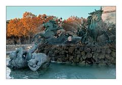 La Fontaine des Girondins (Jean-Louis DUMAS) Tags: fontaine statue sunset sunrise sun sky ciel bordeaux animal hottimesummerinthecity paysage arbre automne