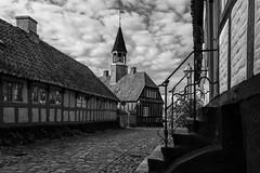 The old port town (michael_hamburg69) Tags: ebeltoft dänemark danmark denmark djursland detgamlerådhus altesrathaus oldtownhall halftimber fachwerk monochrome