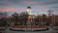 Jesse Hall (Notley Hawkins) Tags: httpwwwnotleyhawkinscom notleyhawkinsphotography notley notleyhawkins 10thavenue jessehall architecture mizzou universityofmissouri campus dusk sky road building city night tree facade december winter nisi nisifilter 3stop ndfilter neutraldensity dome january 2019 clouds sunset