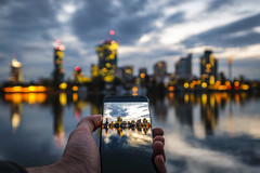 Skylines (CoolMcFlash) Tags: city cityscape vienna modern danube reflection smartphone display dof sky twilight water reflektion fujifilm xt2 skyline cloudy stadt wien donau alte donaud spiegelung wasser bildschirm tiefenschärfe depthoffield himmel abend fotografie photography architecture architektur building xf1024mmf4 r ois lights lichter urban bokeh