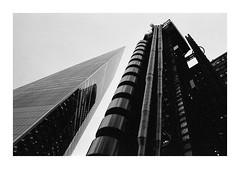 FILM - Skyline abstract (fishyfish_arcade) Tags: analogphotography bw blackwhite blackandwhite delta3200 filmphotography filmisnotdead istillshootfilm kodak monochrome nikkor2880f3556afd nikonf70 tmaxp3200 analogcamera film mono london skyline skyscraper abstract architecture