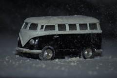 VW snow (time sponge) Tags: vw toy snow camper van blizzard black white