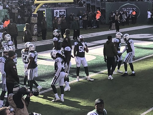 The New York Jets before their game with the Buffalo Bills