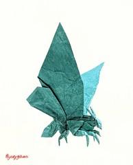 Mothra 2.0 (Joe Adia) (joeygami) Tags: mothra godzilla kingofthemonsters kingghidorah rodan moth butterfly insect bug wings origami design sculpture paper art craft illustration drawing painting toho japan japanese anime bioluminescence monsterverse kaiju titans monsters
