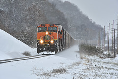 Goat boat in the snow. (Machme92) Tags: bnsf burligrton bn ge dash9 railroad railfanning railroads railfans rails rail row railroading nikon snow winter