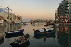 Spinola Sunset (Crisp-13) Tags: malta spinola bay saint julians sea harbour boats sunset dusk water red sky