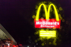 Queue tune! (Barb Henry) Tags: mcdonald hamburgers fastfood livinit colors sign arches m rainy wet oregon night