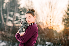 (Rebecca812) Tags: girl puppy frenchbulldog winter embrace affectionate love togetherness dog pets pamperedpets cute soft happiness outdoors sunset trees lensflare portrait candid people 11 tween