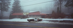 Route 9N  Lake George, NY, 2018 (mwilli214) Tags: xpan 35mm cinestill 800t filmshooterscollective filmphotographic 45mm madewithkodak kodak vision 500t 5219 beliveinfilm lake george