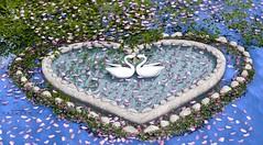 #921...Heart (KmBAllen) Tags: tmcreation heart secondlife pond wans flowers petals heartrocks water