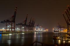Waltershofer Hafen (Christian Möller) Tags: hamburg deutschland germany hafen harbor harbour elbe kran crane schiff ship vessel container nebel fog port brücke nacht himmel