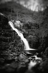 waterfall (pics by paula) Tags: water waterfall black white mono low key dark secluded secret wales river mountains wood picsbypaula uk 2019 bw