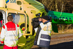 33 Filming the reporter, Scone (wwshack) Tags: airbushelicopters ec135 egpt eurocopter psl perth perthairport perthshire scaa stv scone sconeairport scotland scotlandscharityairambulance helicopter photoshoot
