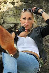 Anna 121 (The Booted Cat) Tags: sexy blonde model girl tight blue jeans leather cowboyboots cowgirl boots jacket gloves