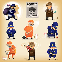 Detective story with thieve and detective. (postageour333) Tags: police detective following wanted sign british jail imprisonment prison escape trick vector illustration protection profession cartoon security justice playviolin resriction prohibition law order thieve cop helmet search caught robbery criminal character uniform officer crime government cuffed reward hunter authority surveillance heroes safety investigate suspicious tracking examining pursuit seeking magnifyingglass personage