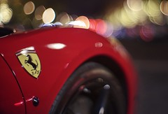 Some like it hot (PeterThoeny) Tags: saratoga california siliconvalley sanfranciscobay sanfranciscobayarea southbay car ferrari red hood carhood tire street night outdoors light bokeh blur sony a7 a7ii a7mii alpha7mii ilce7m2 fullframe vintagelens dreamlens canon50mmf095 canon 1xp raw photomatix hdr qualityhdr qualityhdrphotography road fav100