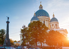 Trinity Cathedral (Shumilinus) Tags: 2018 35mmf18 landscape nikond300s saintpetersburgrussia architecture city sky cityscape clouds sunbeam sunlight sunset cathedral trees street