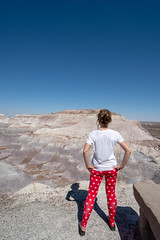 Fit attractive active woman looks out onto the Blue Mesa Trail at the Petrified Forest National Park in the Arizona Desert. Woman is wearing leggings and white t-shirt (m01229) Tags: log hike sand nature painteddesert petrified mineral brown petrifiedforestnationalpark female united girl southwest tree geology canadaday woman lifestyle sky natural whitetshirt petrifiedforest fossil route66 wood freedom scenic scenery landscape desert rock terrain nationalpark person solofemaletravel formation dry badlands young painted geologic stone park colorful caucasian erosion travel america outdoors fourcorners womanactivity arizona hiker bluemesatrail canadaleggings tourism