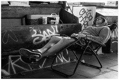 Eat Sleep (Silver Machine) Tags: streetphotography candid street man sleeping deckchair london southbank fujifilm fujifilmxt10 fujinonxf35mmf2rwr fujifilmx