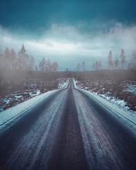 ~ what are we heading for ~ Riddarhyttan Sweden (Tankartartid) Tags: snow snö winterroad vinterväg bilfritt tomväg emptyroad moody pointofview blåaktig bluish countryroad landsväg dimma fog trees pine tallar tall träd väg way road natur nature norden nordic europe sweden riddarhyttan