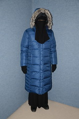 Four warm coats (Warm Clothes Fetish) Tags: torture sweat girl fur hot maid warm boots niqab hijqab fleece coat apron