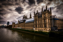 Stormy Westminster 2 (trevorhicks) Tags: london england naked nude westminster river thames water building sky storm spire government scaffolding clouds sigma canon 5d mark iv windows outdoor flag tower skyscraper gate