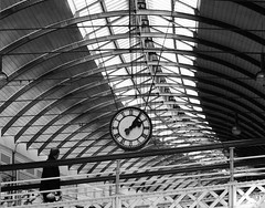 in time for the 2:15 (Mr Ian Lamb 2) Tags: people street time clock station railway newcastle tyneside northeast monochrome blackandwhite bandw travel commuting