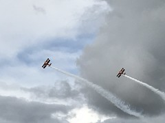 The Breitling Wingwalkers duo of Boeing PT-17 Stearman 450s in action during the airshow at RAF Scampton on 09.09.17 (Trevor Bruford) Tags: raf scampton airshow lincolnshire planes airplane breitling wingwalkers boeing pt17 stearman 450 aircraft biplane