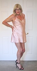 Pink satin slip - 1 (donnacd) Tags: sissy tgirl tgurl slut dressing crossdress crossdresser cd travesti transgenre xdresser crossdressing feminization tranny tv ts feminized jumpsuit domina blouse satin lingerie touchy feely he she look 易装癖 シー