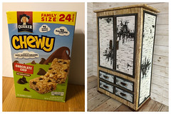 5. Granola bar box cabinet (Foxy Belle) Tags: doll barbie ooak furniture easy paper cardboard box make tutotial cheap inexpensive wood scrapbook dollhouse playscale 16 blythe cabinet recycle armoire dresser house cabin rustic wooden how bark birch tree miniature