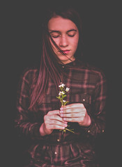 Vera (Pan.Ioan) Tags: portrait woman young adult waist up hands holding flower model face hair emotion real person beauty beautiful