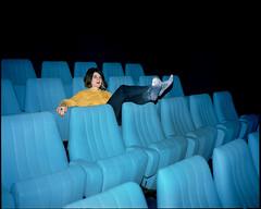 Karine (AntoineLegond) Tags: karine portrait woman movie theater blue yellow mamiya7ii 65mm kodak portra flash strobe film analogue balzac paris
