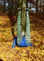 Autumn - gymnastics in pantyhose and leotard (wetmuddy) Tags: outdoor fun forest autumn herbst wald leotard unitard pantyhose gymanstik gymnastikanzug lycra spandex medias strumpfhose tights legs leggings gimnasia